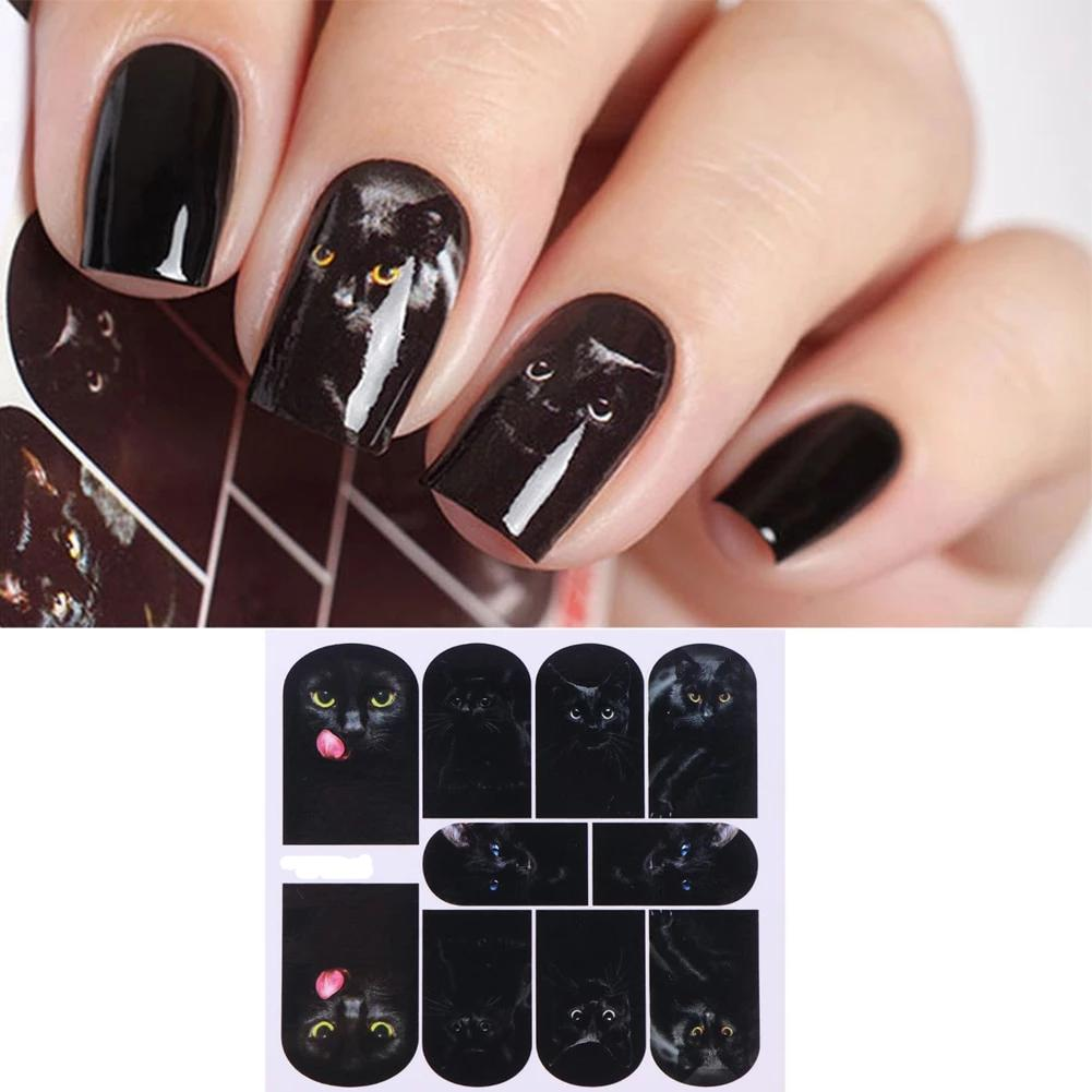 Gothic Punk Mysterious Black Cat Nail Art
