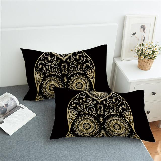 Skull Gothic  Floral Mandala Pillow Cover