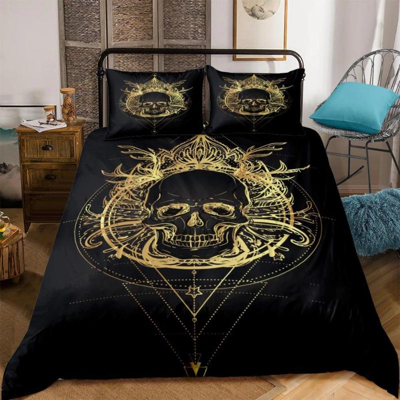 Gold Skull Boho Bedding Set - Skullflow