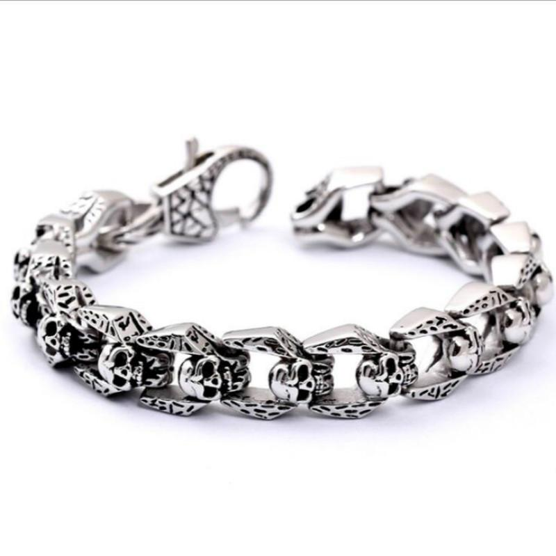 Heavy Stainless Steel Skull Chain Bracelet