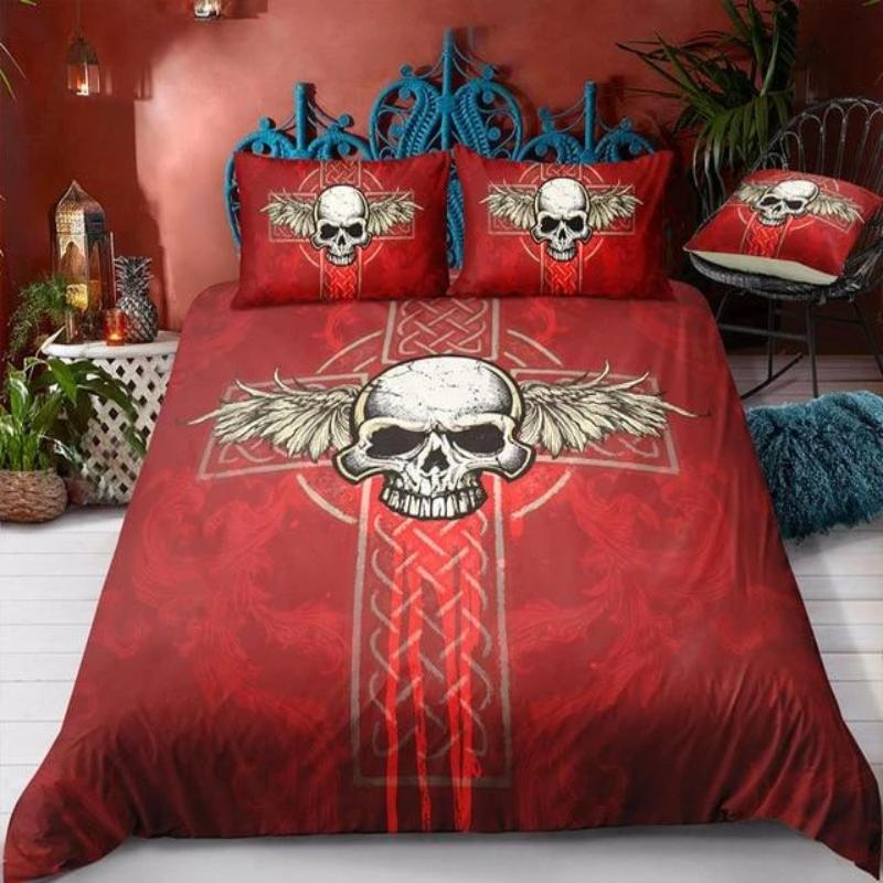 3D Skull Colorful Cross Wing Bedding Set - Skullflow