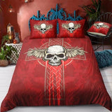 3D Skull Colorful Cross Wing Bedding Set