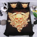 3D Dark Skull Post Mortem Bedding Set