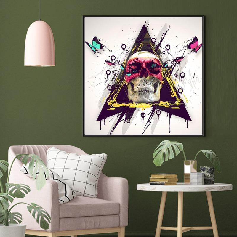 Colorful Skull with Butterfly Cuadros Home Decor
