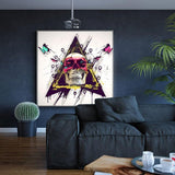 Colorful Skull with Butterfly Cuadros Home Decor - Skullflow