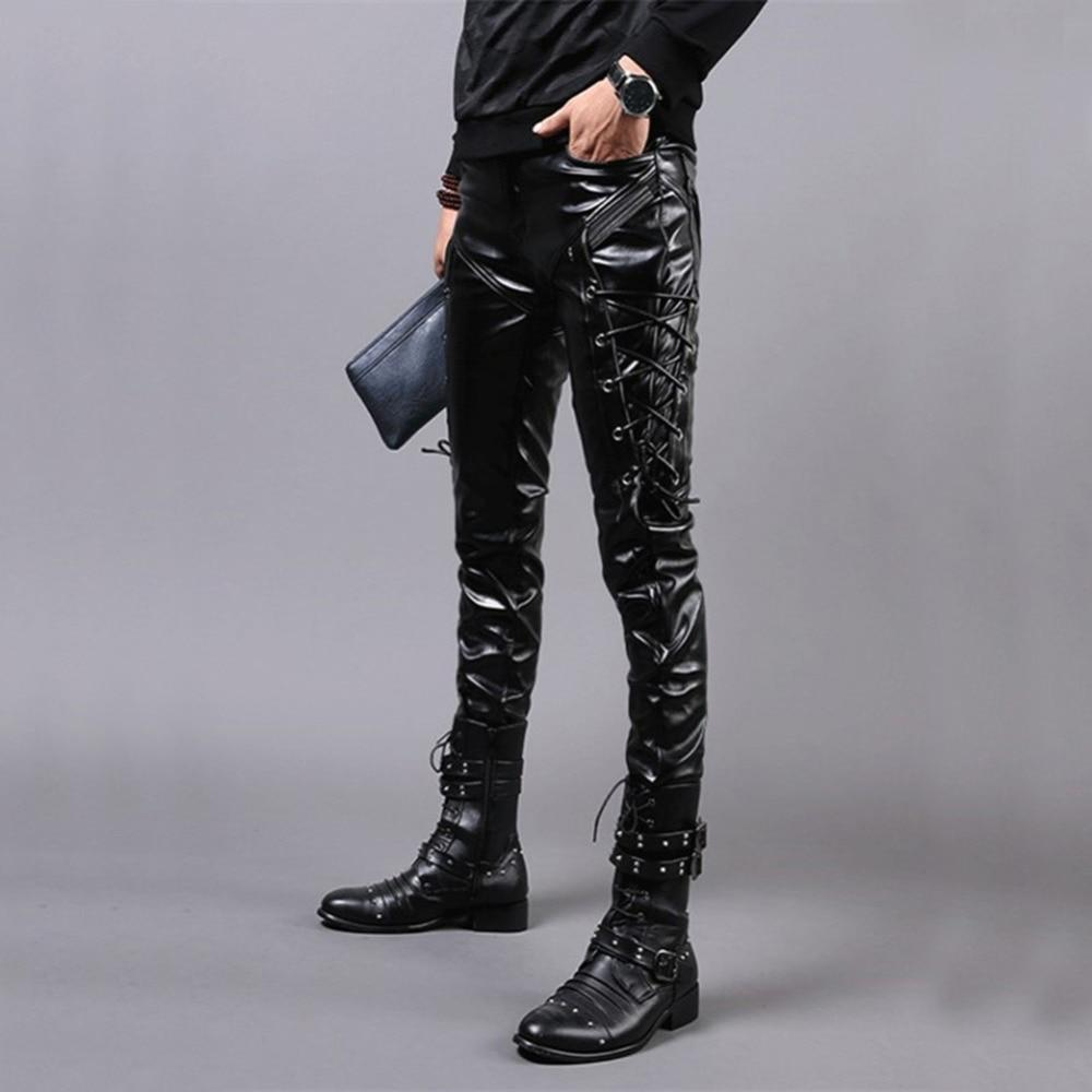 Punk Style Skinny Lace Up Leather Pants