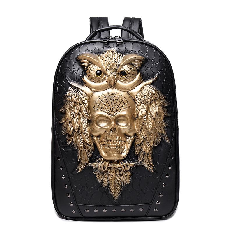 3D Owl Skull Embossing Stereoscopic Backpack - Skullflow