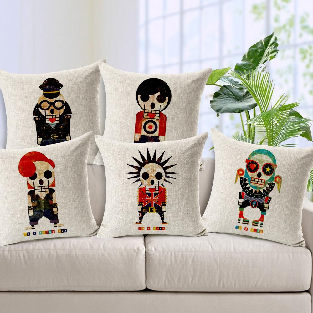 Funny Skull Pillow Breathable Cotton Cover