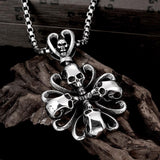 Skull Cross Punk Chain Necklace - Skullflow