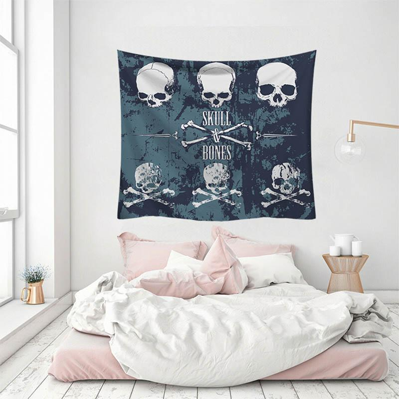 Skull Printed Beach Blanket Wall Tapestry