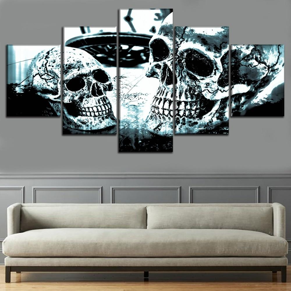 5 Panel Abstract Skull Painting Modern Canvas - Skullflow