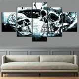 5 Panel Abstract Skull Painting Modern Canvas