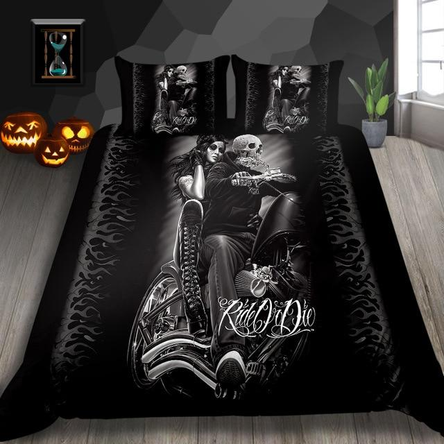 Black Motorbike Motorcycle Skull Bedding Set - Skullflow