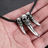3 Skull Claw Pendant Necklace - Skullflow