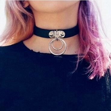 Double Round Circle Gothic Choker Necklace - Skullflow