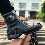 Skull Punk Leather Motorcycle Boots