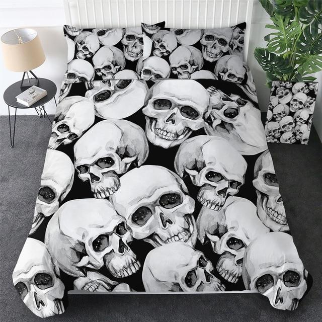 3D Pile of Skull Bedding Set