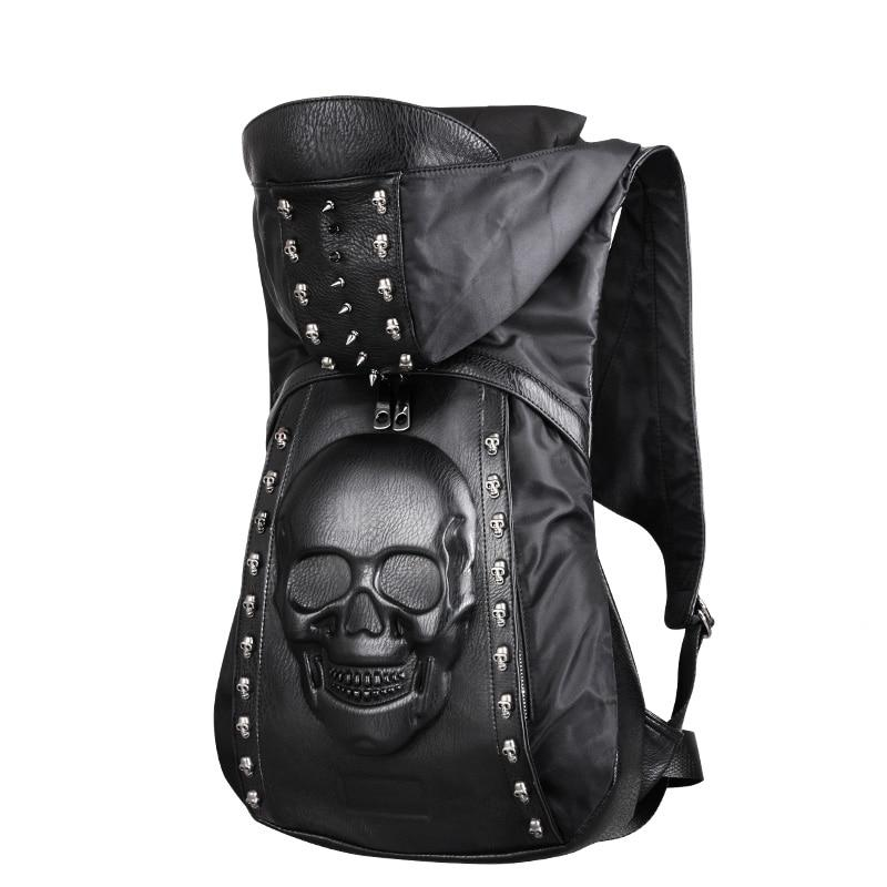 3D Skull Leather Backpack with Hood Cap
