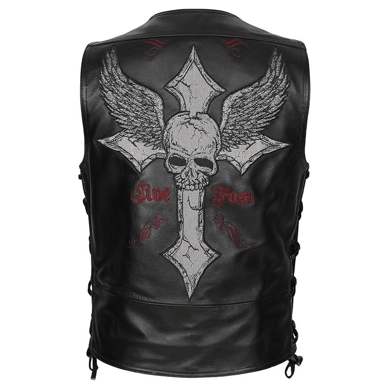 Vintage Cross Skull Embroidery Biker's Leather Vest