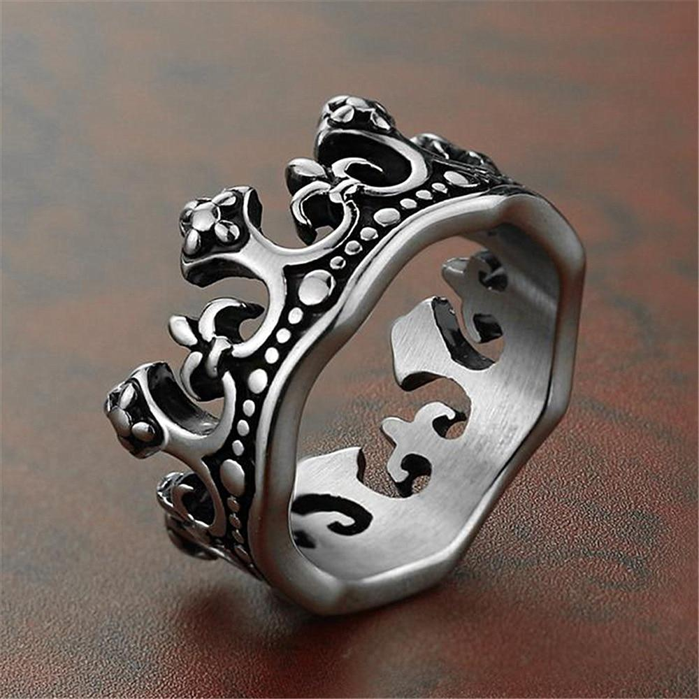 Crown Fleur De Lis Cross Vintage Rings