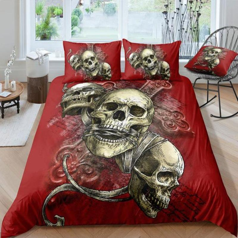 Red Triple Skull Cross Bedding Set