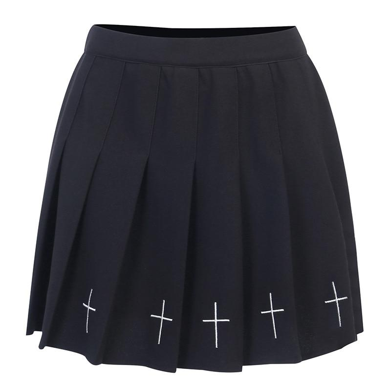 Gothic Cross Prints Mini Skirts