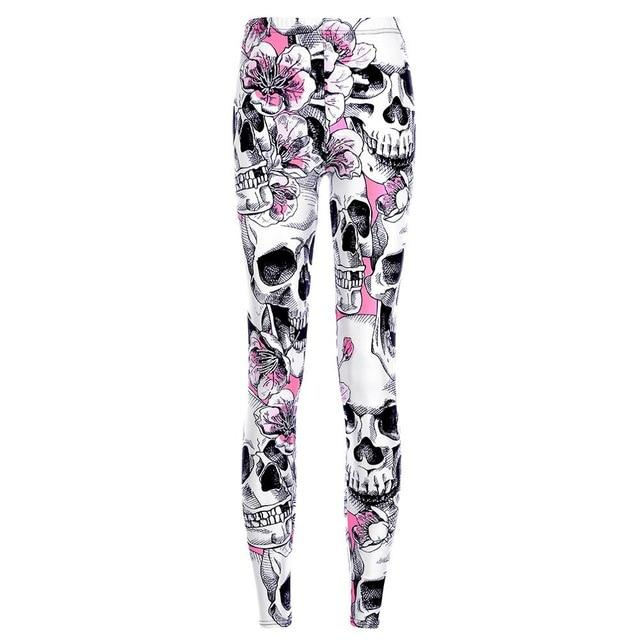 Floral Skull Head High Waist Fitness Leggings