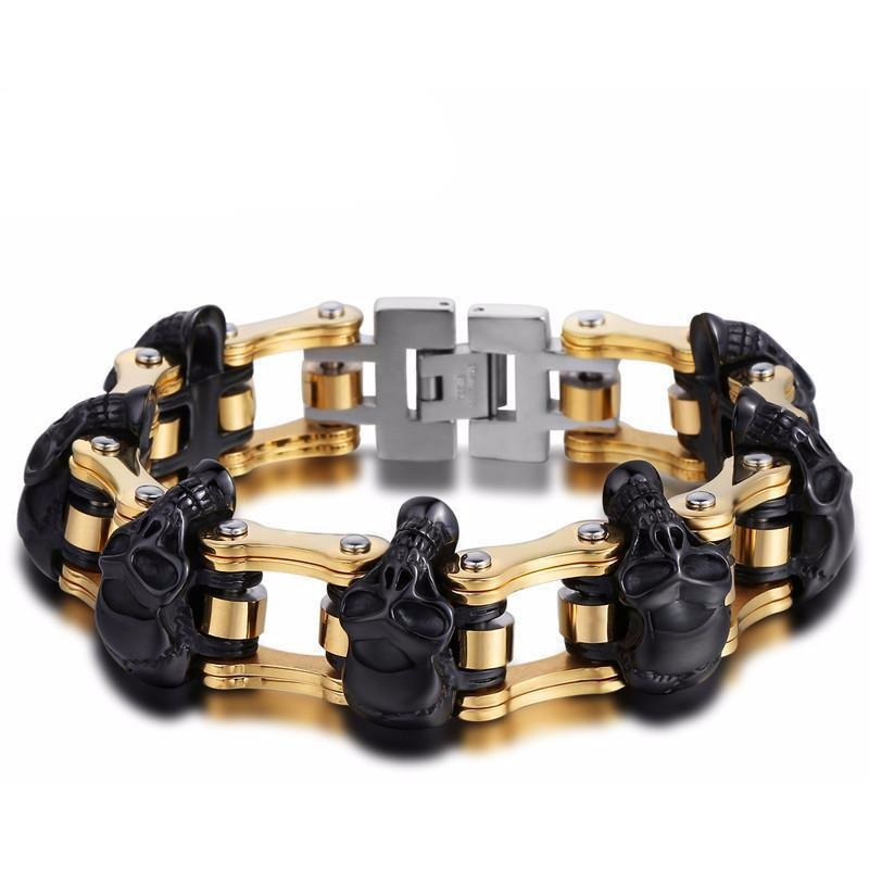 Stainless Steel Metal Chain Skull Bracelet Black Gold