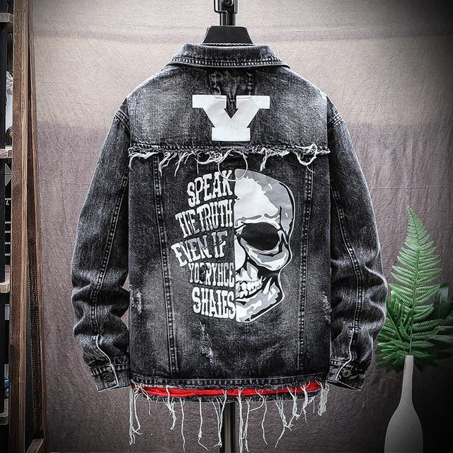 Ripped Hole Skull Denim Jacket
