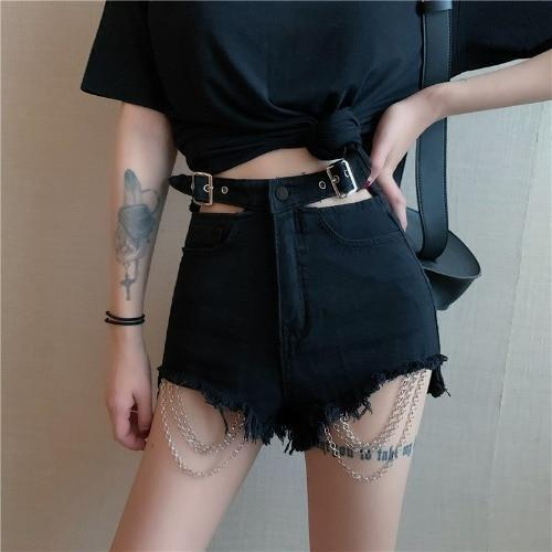 Gothic Black Hole Chain Denim Shorts