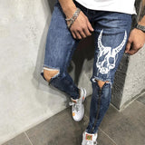 Punk White Skull Devil Denim Pants