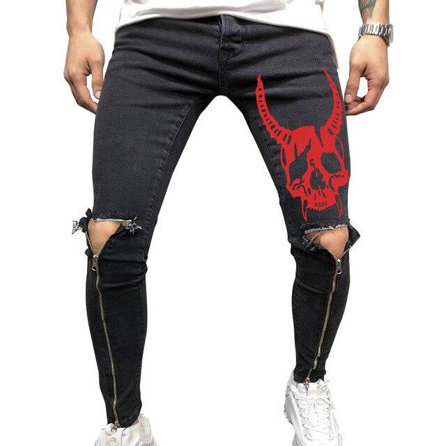 Punk Red Skull Devil Denim Pants