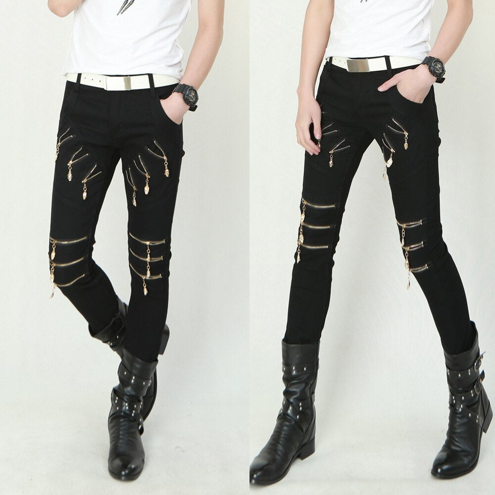 Gothic Punk Multi Zippers Slim Fit Pants