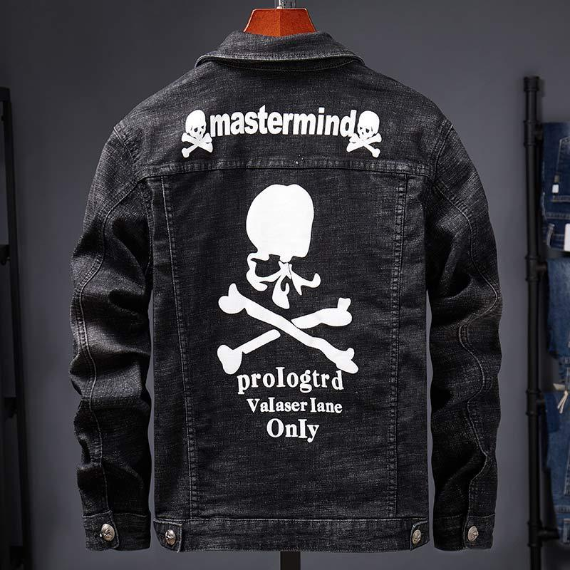 Skull Printed Embroidered Denim Jacket