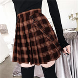 Gothic Plaid Mini Skirt with Suspender Strap