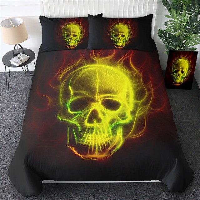 Green Gold Flaming Skull Bedding Set