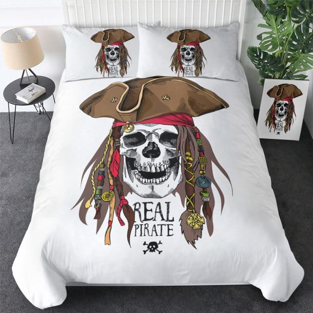 Real Pirate Skull Bedding Set
