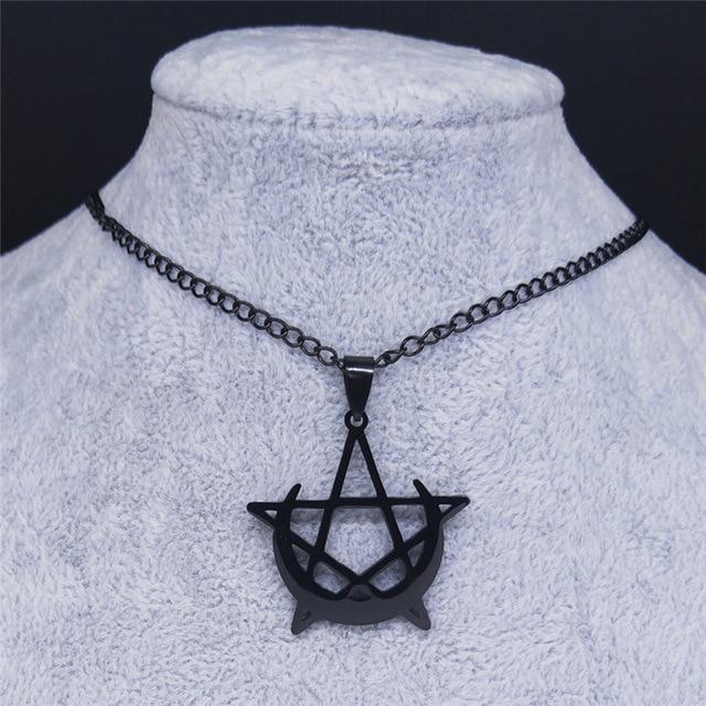 Gothic Moon and Pentagram Necklace