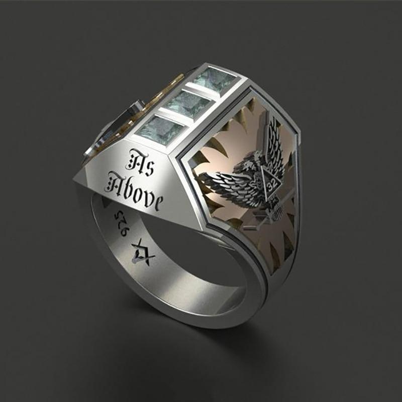 Double-Headed Eagle Masonic Steampunk Ring