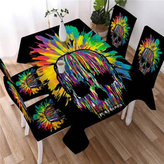 Colour Skull Washable Table Cover