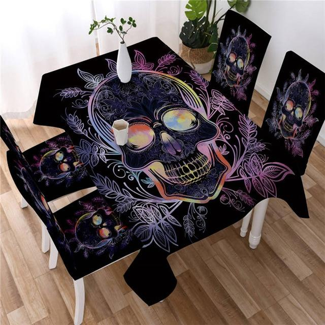 Purple Paisley Flower Skull Washable Table Cover