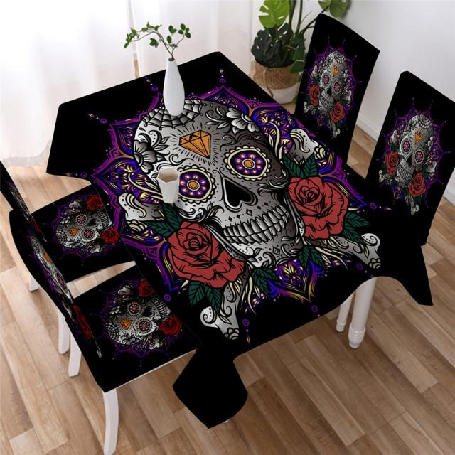Sugar Skull Diamond Gothic Washable Table Cover