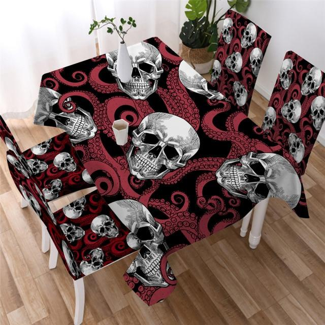 Red Octopus Skull Washable Table Cover