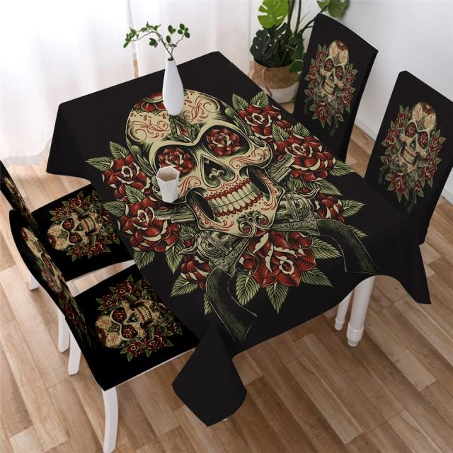 Rose Skull Washable Table Cover