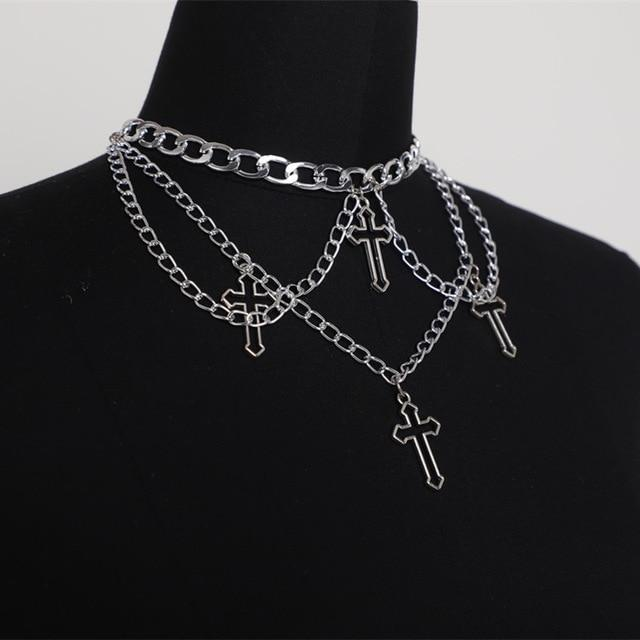 Punk Geometric Hollow Cross Necklace