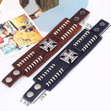Retro Punk Cross Leather Bracelet
