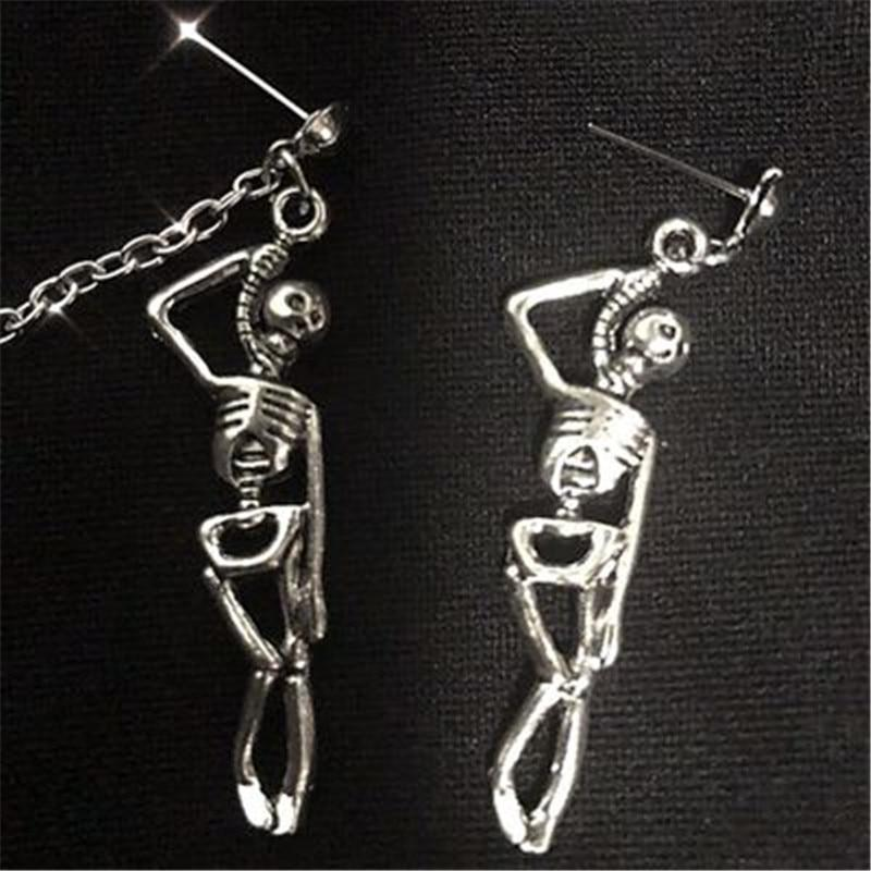 Gothic Emo Skull Chain Drop Earrings