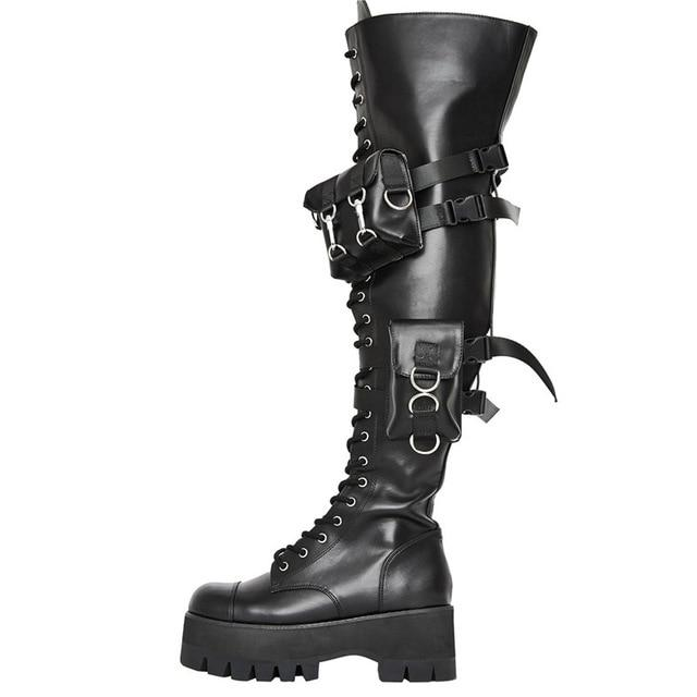 Chunky Heel Buckle Straps Gothic Cosplay Boots