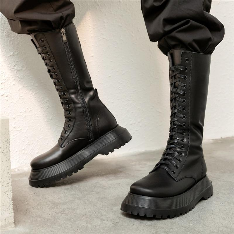 Knee High Side Zipper Leather Boots