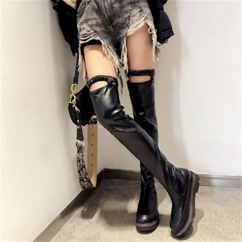 Punk Sexy Leather Boots Women with Elastic Band